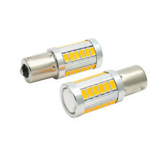 2X 1156 BAU15S PY21W LED Daytime Running Light Amber Orange Yellow Bulbs 33SMD