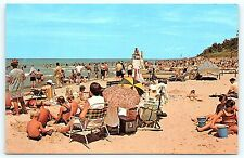 Postcard IN Chesterton Beach Scene Indiana Dunes State Park Lake Michigan C31
