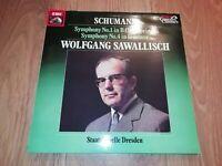 SCHUMANN SYMPHONIES 1 & 4 ~ STAATSKAPELLE DRESDEN / WOLFGANG SAWALLISCH LP EX/EX