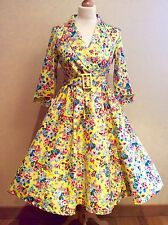 LINDY BOP VIVI  DRESS SIZE 10  YELLOW FLORAL SWING DRESS BELT COTTON MIX BNWTS