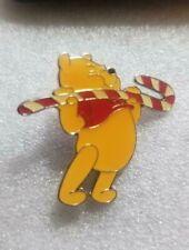 Disney Pin Winnie the Pooh Lifting Candy Cane Enamel Pooh Christmas Series Vntg
