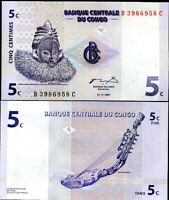 CONGO 5 CENTIMES 1997 P 81 UNC LOT 100 PCS 1 BUNDLE