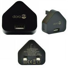 Genuine DORO 3 Pin Micro USB 1A Travel Mains Fast Wall Charger Plug - Black NEW