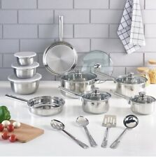 Cookware Set Stainless Steel Kitchen Tools Pots Pans Bowls 18pieces FREESHIPPING