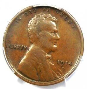 1914-D Lincoln Wheat Cent 1C - Certified PCGS VF Details - Rare Key Date Penny!