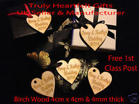Personalised Engraved Wooden Hearts Present Hangers Wedding Table decor Favours