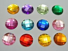 100 Mixed Color Acrylic Flatback Rhinestone Faceted Round Gems 14mm No Hole