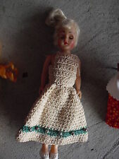 """Vintage 1950s Hard Plastic Blonde Character Girl Doll Crochet Outfit 7 1/2"""""""