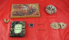 Lot of 7 Household Collectibles Dog Clock Fishing Frame Pin Cushions Easel G2Y72