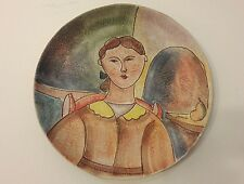 """Vintage Italica ARS Hand Painted Italy Pottery Wall Plate 17"""" Signed"""