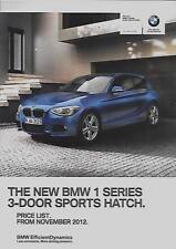 BMW SERIE 1 3 PORTE Sport Hatch LISTINO PREZZI AUTO BROCHURE NOVEMBRE 2012