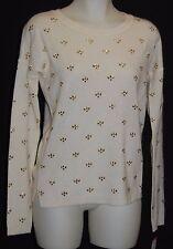 MAISON JULES 100%  Cashmere Cream Embellished Sweater S $189 NWT