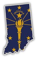 Indiana USA State Map Flag Car Bumper Sticker Decal 3'' x 5''