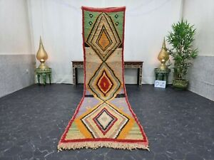 "Moroccan Boujaad Handmade Runner 2'6""x10'4"" Berber Geometric Orange Green Carpet"
