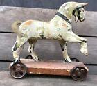 AAFA 19th Century Antique Folk Art Rustic Wooden Horse on Platform Pull Toy