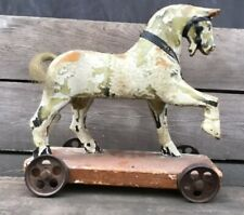 AAFA 19th Century Antique Folk Art Rustic Wooden Horse on Platform Pull Toy