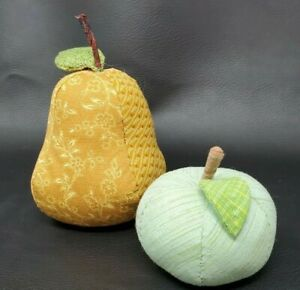 Adorable Hand Made? Fabric Fruit Apple and Pear Cloth Plush Stuffed Life-size