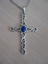 """Sterling Silver America West Lapis Sterling Large Filigree Cross Necklace 17"""""""