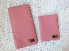 Pink Leather Travel Money, Card & Document Wallet And Passport Holder, Unused