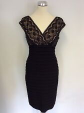 ADRIANNA PAPELL BLACK & NUDE LACE STRETCH BANDAGE WIGGLE PENCIL DRESS SIZE 10