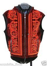 $1195 New Versace Red Baroque Printed Velvet Hooded Vest Jacket L