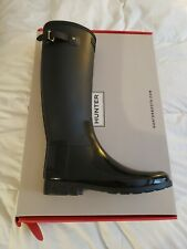 HUNTER Refined Tall Gloss Black Duo Rain Boots Women's 11