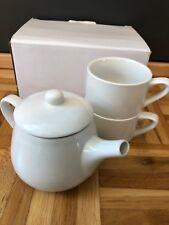 Teeservice Teeset Kaffee Set 1 Kanne 300ml und 2 Tassen je 150ml weiß NEU