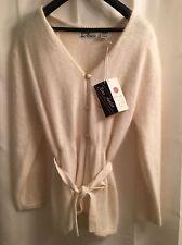 NWT Nina Austin Fluffy Soft ANGORA White Belted CARDIGAN Jacket SWEATER Coat S