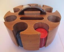 Vintage Round Wooden Poker 200 Chip Caddy Rack Gambling Set Plastic Handle