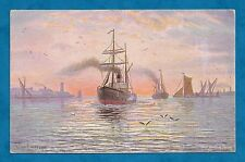 1905 PC NEAR MOUTH OF THAMES by MORTIMER - BARGES, STEAMBOAT, SUNSET
