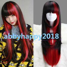 Long Harajuku Black And Red Mixed Fashion lolita wig Anime Cosplay Party wigs