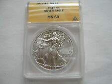 2015 Silver Eagle , MS 69 ,  ANACS Certified , Lot of 5 Coins