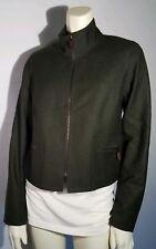 DONCASTER $460 Women Wool blend olive green zip career modern Blazer Jacket Sz 2