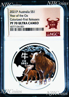 2021 Australia PROOF Colored Silver Lunar Year of the OX NGC PF70 1oz Coin FR
