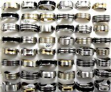 18pcs Mix lot Gold / Silver / Black Enamel Men's Fashion Stainless Steel Rings