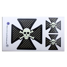 3X Iron Cross Scull Carbon Fiber Laminated Decals Stickers for bike hod rod vw