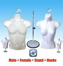 2 Mannequin +1 STAND 2 Hook, Male Female White Dress Torso Form Display Clothing