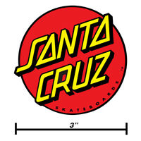 "Santa Cruz Classic Dot Circle Skateboard Sticker Decal Screaming Hand 3"" Size"