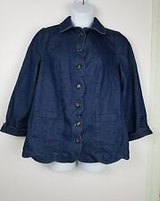 Roaman's Jean Jacket sz 12W dark blue scalloped button front long sleeve cotton