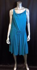 LANE BRYANT NEW Teal Blue Stretch Sleeveless Tie Waist Blouson Dress sz 14/16