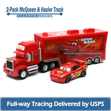 2-Car Disney Pixar Cars 2 Lightning McQueen with Hauler Truck 1:55 Diecast Toys