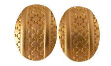Givenchy Vintage Clip Statement Earrings Gold Textured Modernist Designer 54p
