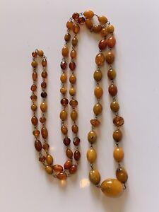 "Antique Butterscotch real Amber Egg Yolk Bead Necklace 38"" Long 24.5g Beads"