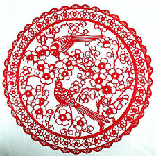 Chinese Folk Art Hand Made Paper Cut - Plum Blossom And Magpies 250mm AE601