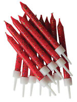 Red Glitter Cake Candles 12pk Wedding Happy Birthday Party Decoration Topper