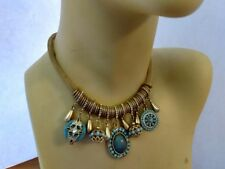 N04 Boho Bohemian Turquoise Golden Bib Necklace Every Mother's day Gift Birthday