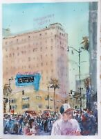 "Watercolor Original Painting Unique 11"" x 15"" Friday Morning At Hollywood Blvd"