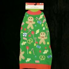 Ugly Christmas Holiday Gingerbread Man Candy Cane Sweater Dog Pet Costume Sz L
