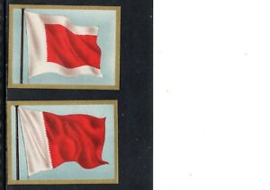 VERY EARLY BAHRAIN  FLAG CIGARETTE CARDS, 2 DIFFERENT CARDS