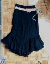 Free People long black boho style hippie skirt with frill & colorfull applique 4